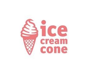 ice cream in waffle cup logotype