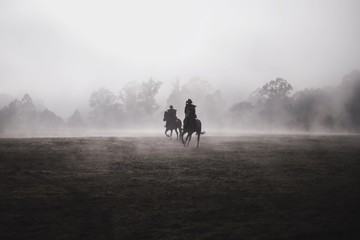 Silhouette Men Riding Horses On Field Against Sky During Foggy Weather