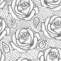 Vector seamless pattern with dotted rose flowers and decorative lace in black on the white background. Elegance floral background with roses in dotwork and contour style.
