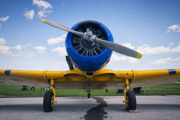 Frontal view of old vintage airplane