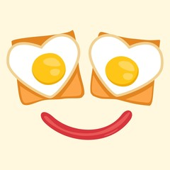 toast with egg face