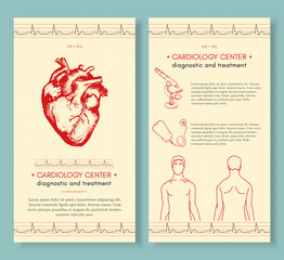 Cardiology medical cover design template. Human heart medical