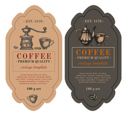 Packaging design for coffee. Black coffee latte cappuccino hand