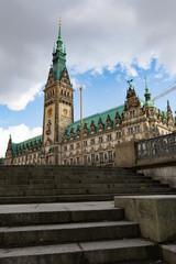 Rathaus Hamburg Germany with steps