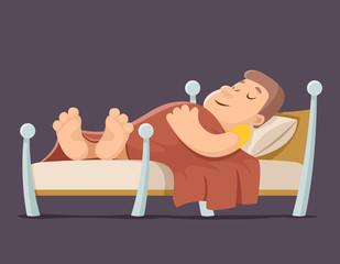 Sleep man bed rest night blanket pillow cartoon design vector illustration