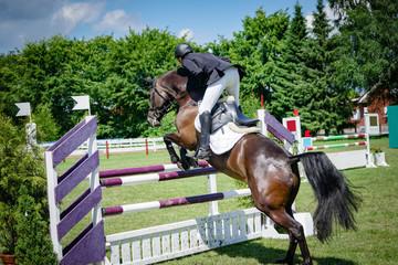 Reitturnier - Pferd und Reiter beim Absprung über ein Hinderniss