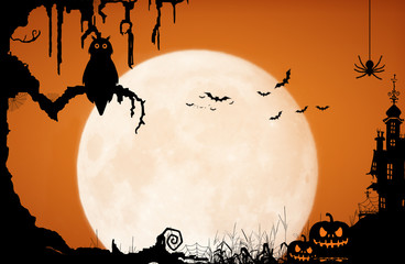Halloween night background with moon, owl, spider, bat, pumpkin, castle and old tree.