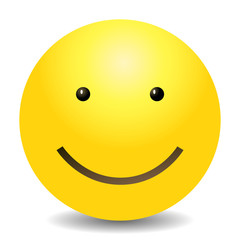 Vector Single Yellow Emoticon - Smile Face