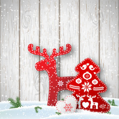 Christmas background, small scandinavian styled decorations in front od white wooden wall, illustration