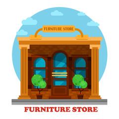 Furniture store or shop building facade