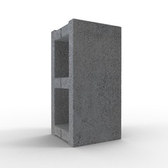 Single Gray Concrete Cinder Block Isolated on White. 3D illustration