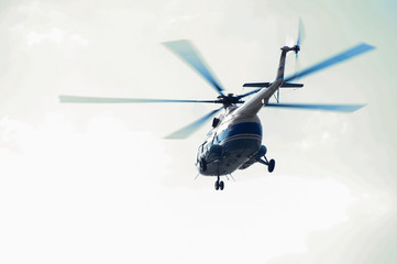 helicopter in the sky,close up of a in flight in Russia