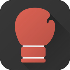 Vector illustration. Toy red boxing glove in flat design with long shadow. Square shape icon in simple design. Icon vector size 1024 corner radius 180