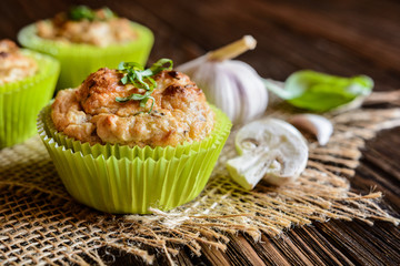 Savory muffins with mushrooms, eggs, green onion and basil