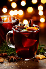 Mulled red wine with spices and citrus fruits