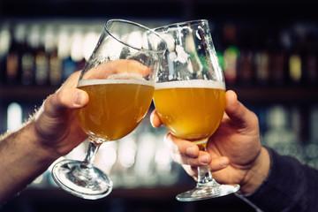 Beer toast in night club