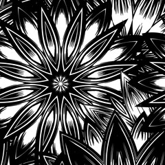 Seamless floral background. Tracery handmade nature ethnic fabric backdrop pattern with flowers. Textile design texture. Decorative binary monochrome black and white art. Vector.