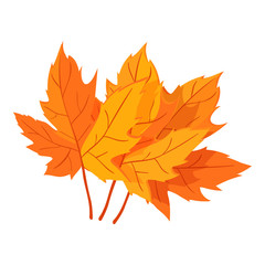 Autumn leaves icon in cartoon style isolated on white background. Plant symbol vector illustration