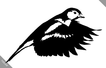 black and white paint draw tit bird vector illustration