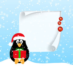 Winter horizontal banners with penguins.