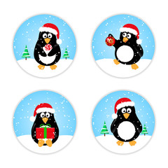 Set of cute winter penguins in Santa hat