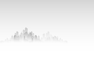 Landscape of the city in the fog