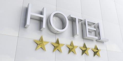 Silver 5 stars hotel sign. 3d illustration
