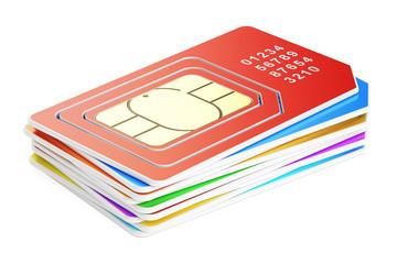 set of  SIM cards, 3D rendering
