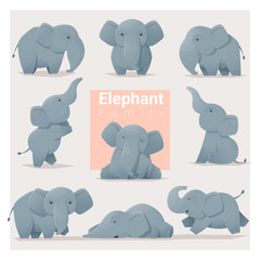Set of Elephant family , vector , illustration