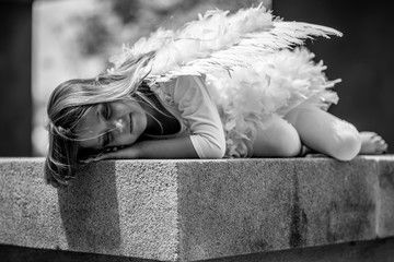 Black and white Child fashion angel outdoors