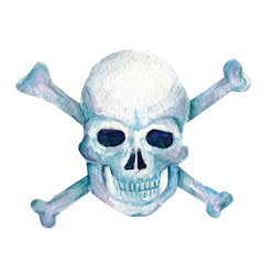Watercolor image of skull For halloween party