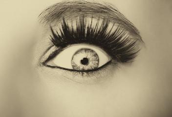 Beautiful insightful look  woman's eye. Vintage style