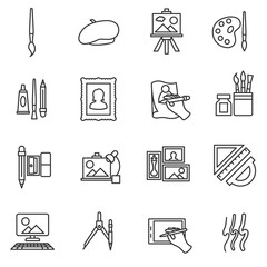 painter icons. Painting collection. thin line design