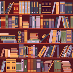 bookshelf, books, library, vector