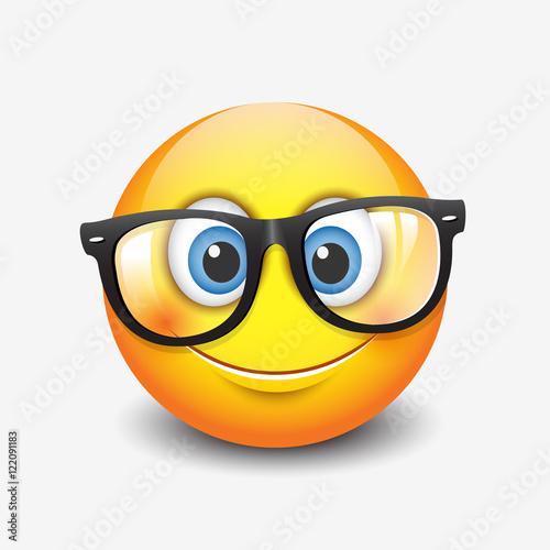 Cute smiling emoticon wearing eyeglasses, emoji, smiley