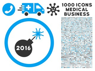 2016 Petard icon with 1000 medical business gray and blue vector pictograms. Set style is flat bicolor symbols, white background.