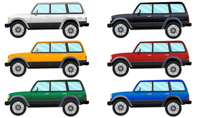 Set of terrain vehicles in six different colors.Vector illustration