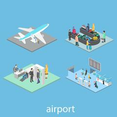 Isometric airport scenes