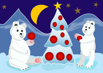 Ice bear cubs with mother by bonfire. Ice bears by igloo. Ice bear sitting. Ice bear baby lying. Cute ice bear illustration. Ice bear in ice landscape.