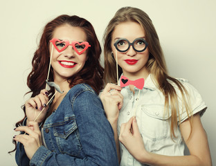 two stylish sexy hipster girls best friends ready for party