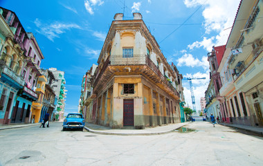 Photo sur Plexiglas La Havane Detail of center havana street and typical architecture