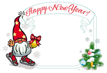 Vector frame in shape of Christmas garland with little gnome ice skating. Design element for New Year decorations, greetings cards and other design artworks.