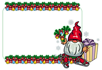 Horizontal frame with New Year balls and cute gnome ice skating. Vector clip art.
