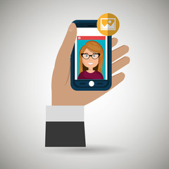 hand hold smartphone icon vector illustration eps 10
