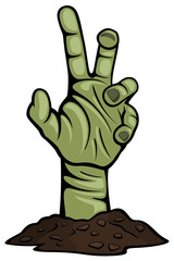Vector illustration of a creepy zombie hand reaching up from the ground.