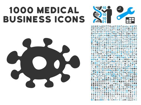 Bacteria icon with 1000 medical commercial gray and blue vector pictograms. Collection style is flat bicolor symbols, white background.