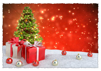 Christmas tree and gifts in snow on bokeh red background. 3D render.
