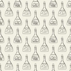Alchemy seamless pattern vector illustration. Background with bottles with snake bubbles and diamonds
