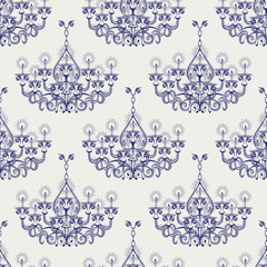 Antique gothic chandeliar seamless pattern in ball pen imitation style vector illustration