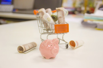 Piggy bank and the money in a shopping cart full of cars.